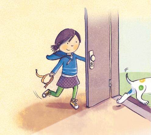Lotta rennt aus der Tür.